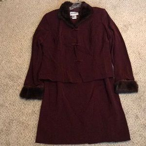 Plaza South Fur Lined Skirt Suit Size 16 NWOT